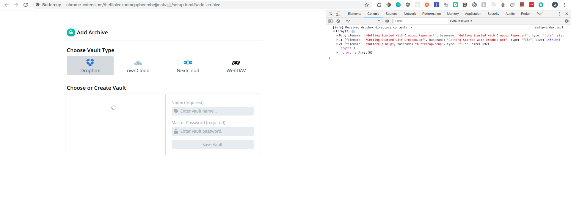 Dropbox connection never completes UI loading procedure