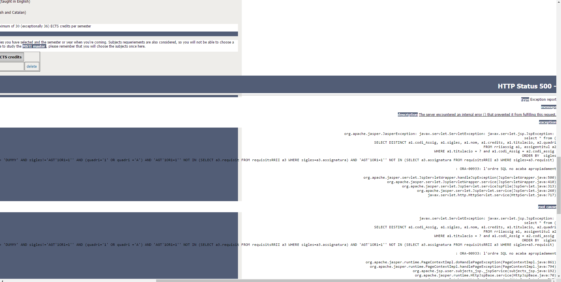 SQL Injection vulnerability test