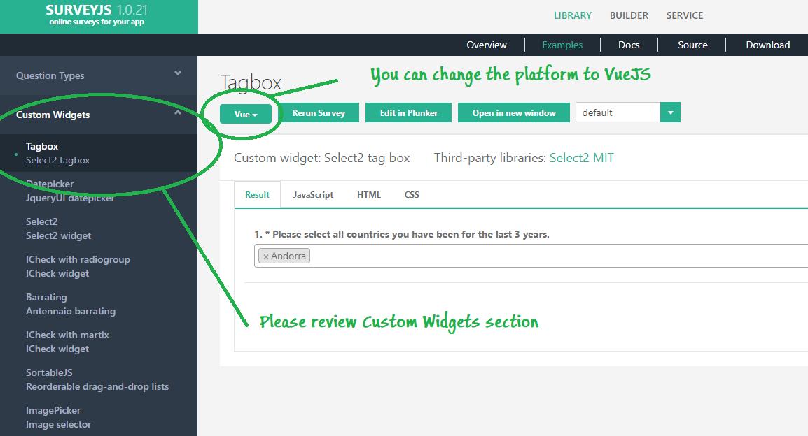 Widget In Surveyjs Vue Issue 51 Surveyjs Widgets Github