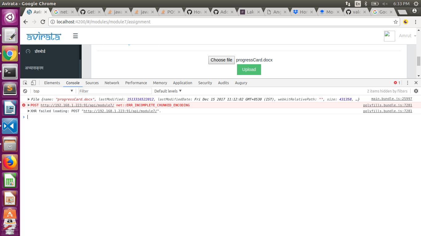 error while upload file ERR_INCOMPLETE_CHUNKED_ENCODING