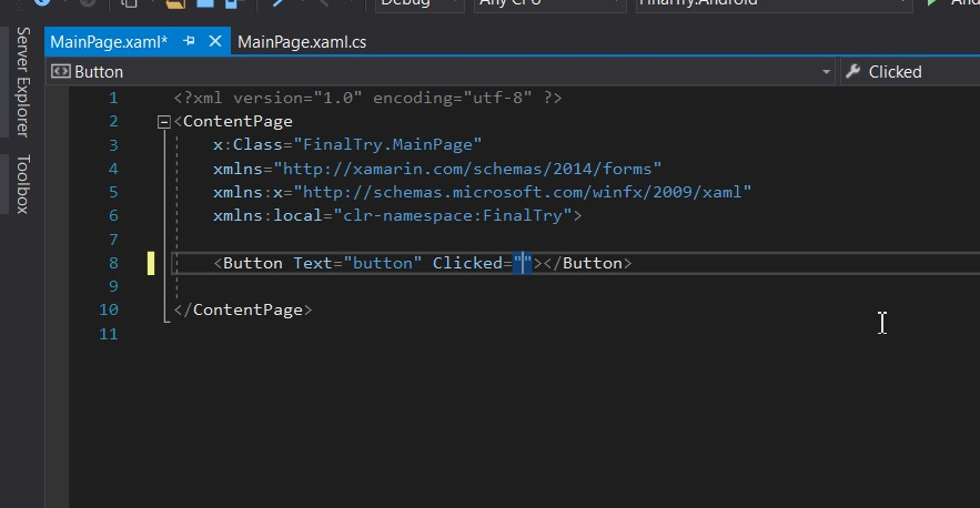 Missing auto generate event handler when editing XAML in VS 2017