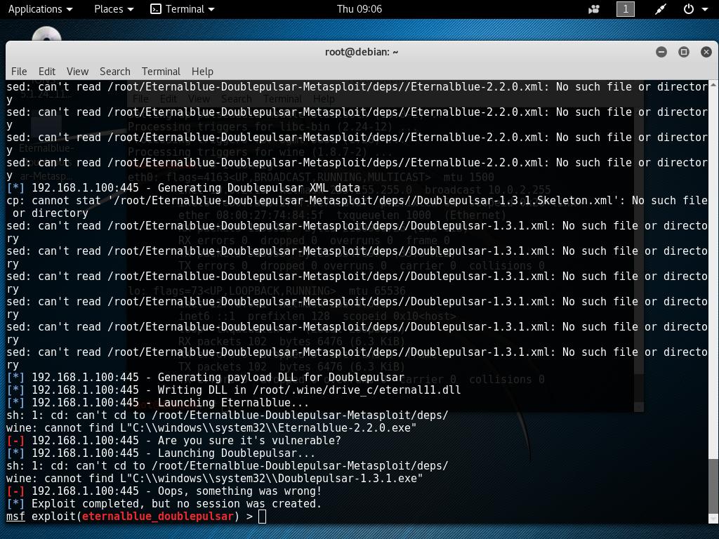 cp: cannot stat '/root/Eternalblue-Doublepulsar-Metasploit