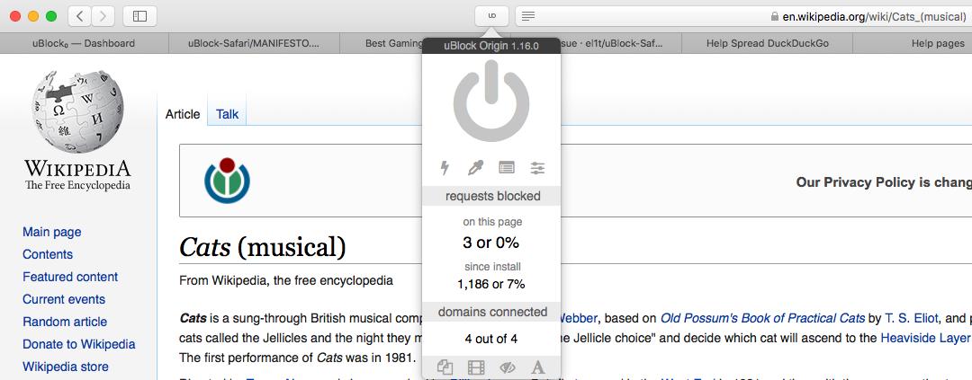 uBlock Origin - Chromium, Firefox和Safari的高效广告拦截器