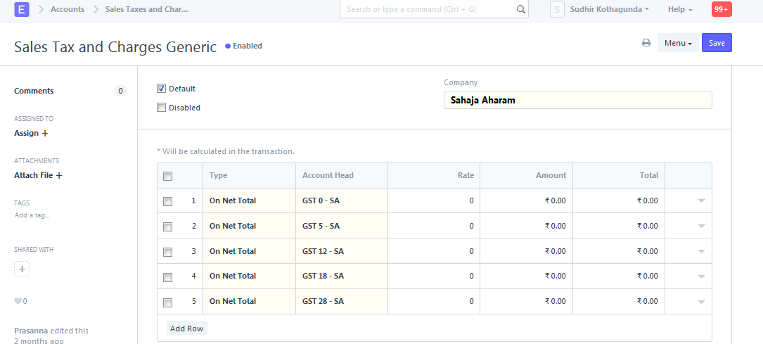 Sales POS Invoice Shows Unused Tax Rows Issue Frappe - Generic sales invoice