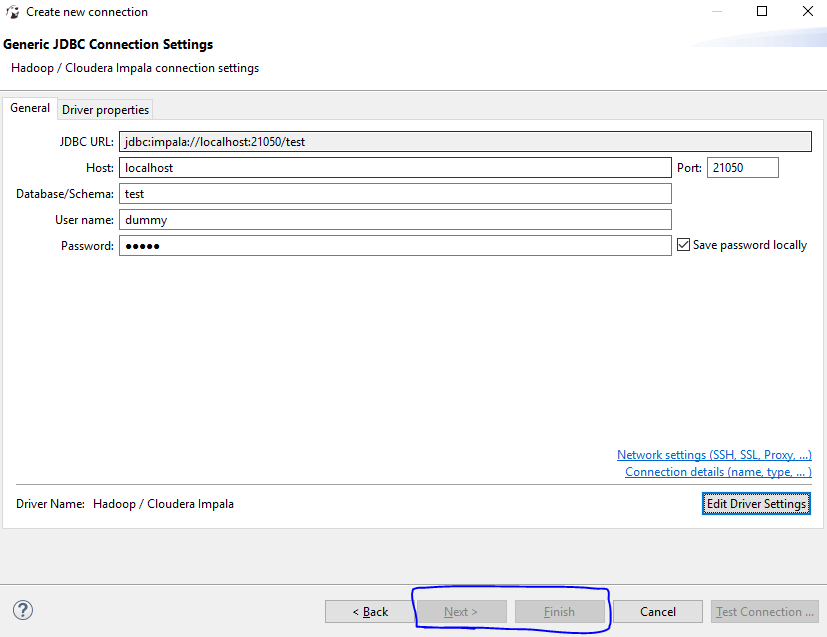 Unable to create new Cloudera Impala connection after