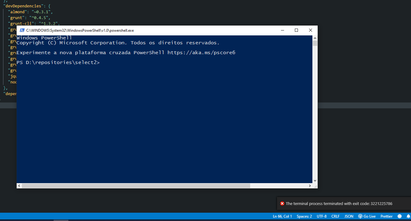 PowerShell opens in a separated window with ConPTY and