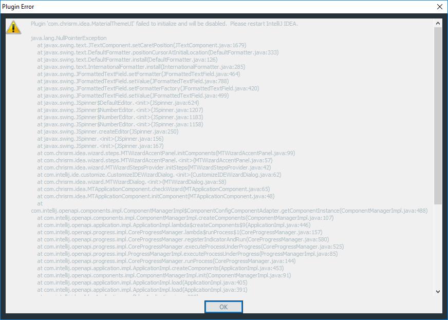 NullPointer on IntelliJ Startup · Issue #938 · ChrisRM