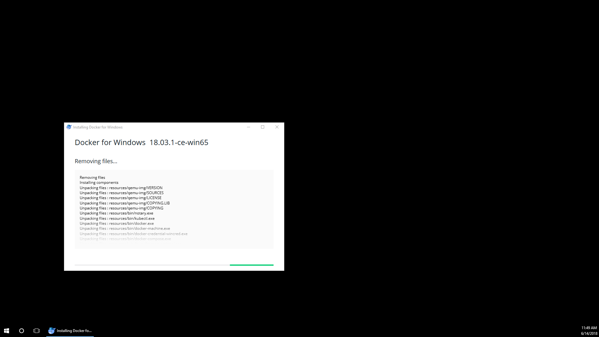 Docker for Windows hangs during