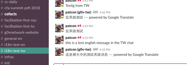 Allow transformation of messages via Google Translate