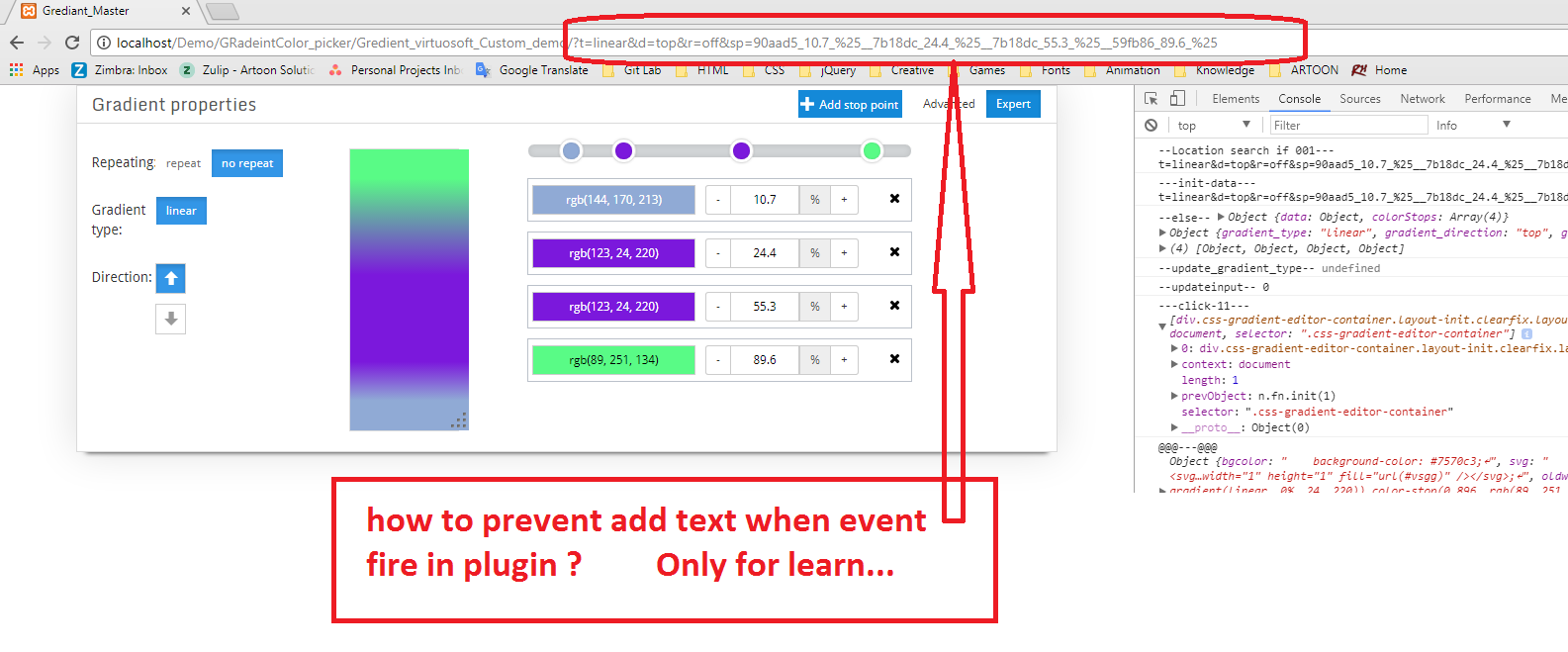 How to prevent adding some text in url when click on button
