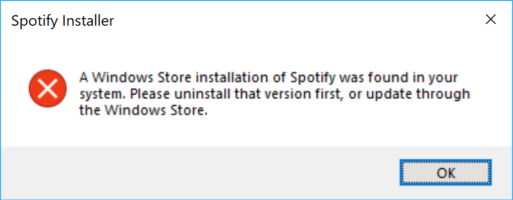 spotify) Install hangs if Windows store version of the application