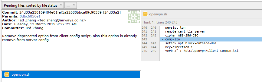 Remove comp-lzo option from client config · Issue #4