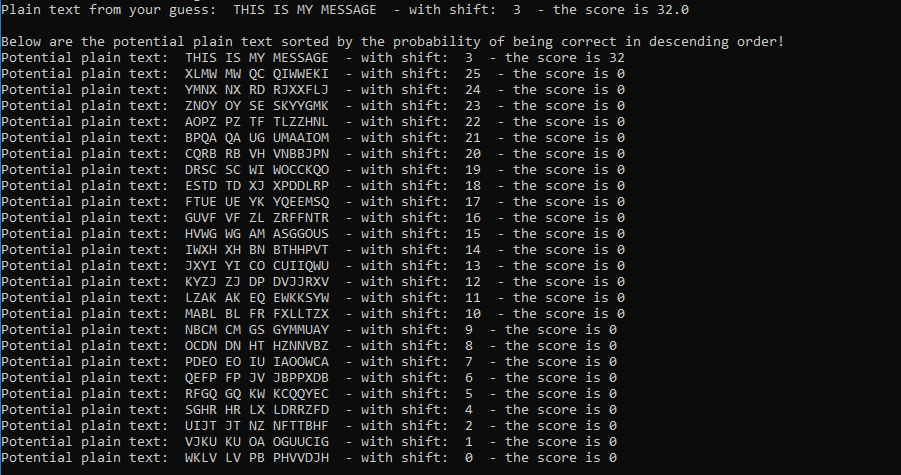 image of sample output from Caesar Cipher Decoder