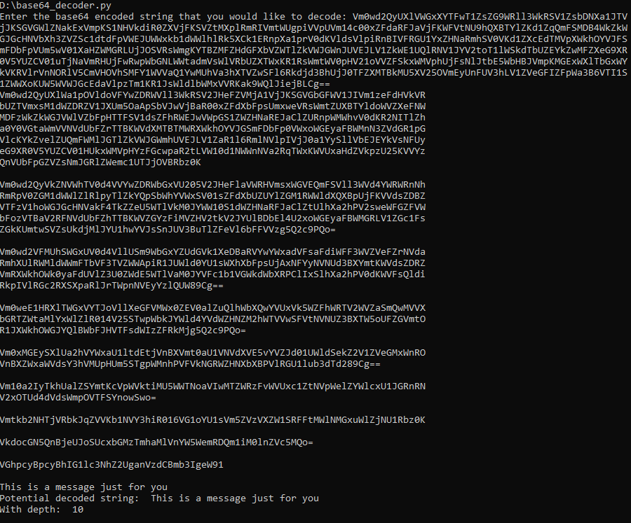 image of sample output from Base64 Decoder
