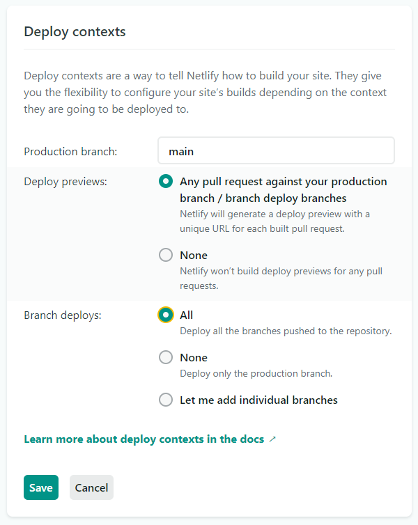 Netlify settings screenshot
