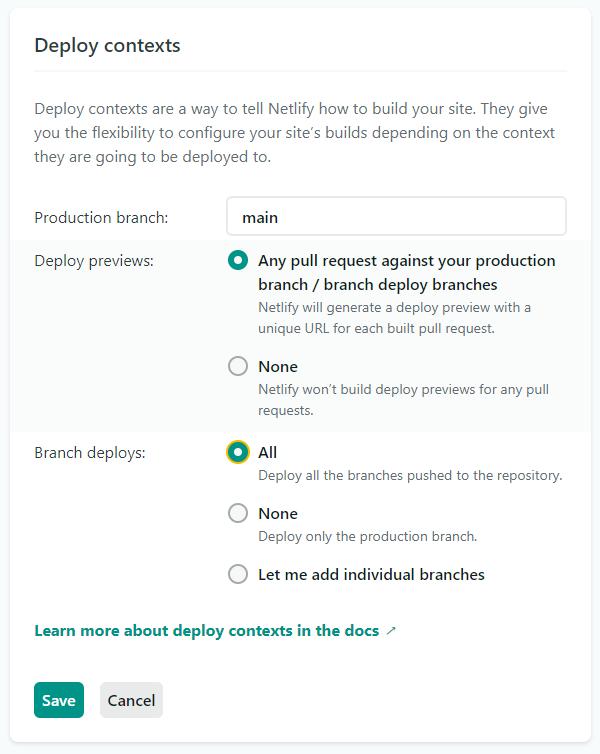Netlify settings screenshot