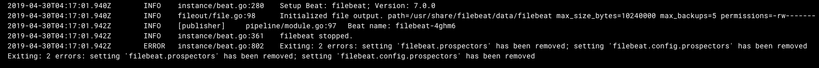 stable/filebeat] Remove the deprecated prospectors option in the
