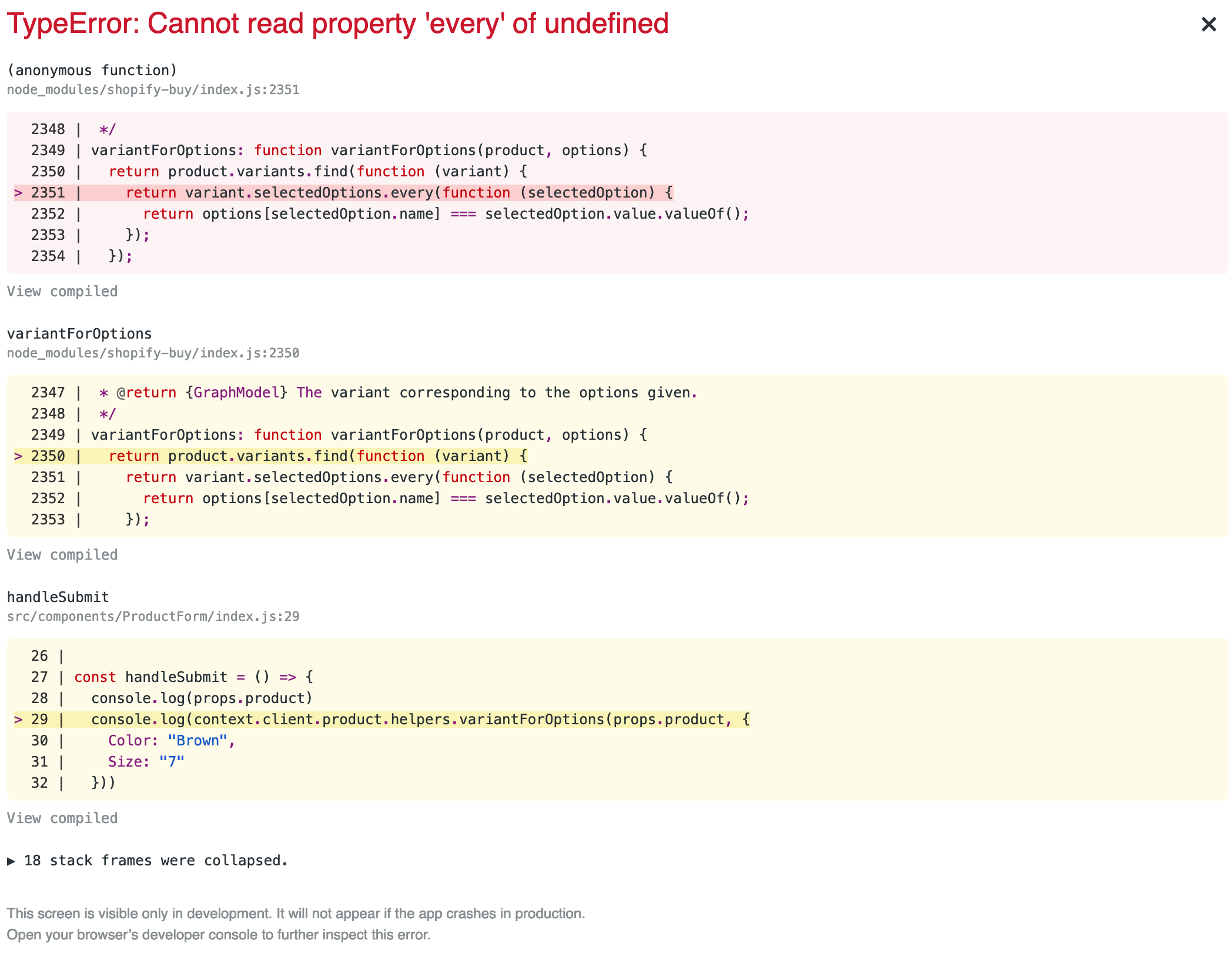 variantForOptions throws Cannot read property 'every' of undefined
