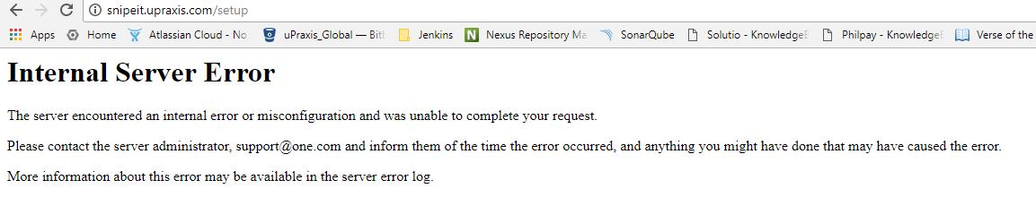 Internal Server Error - upon Installing Snipe-IT · Issue