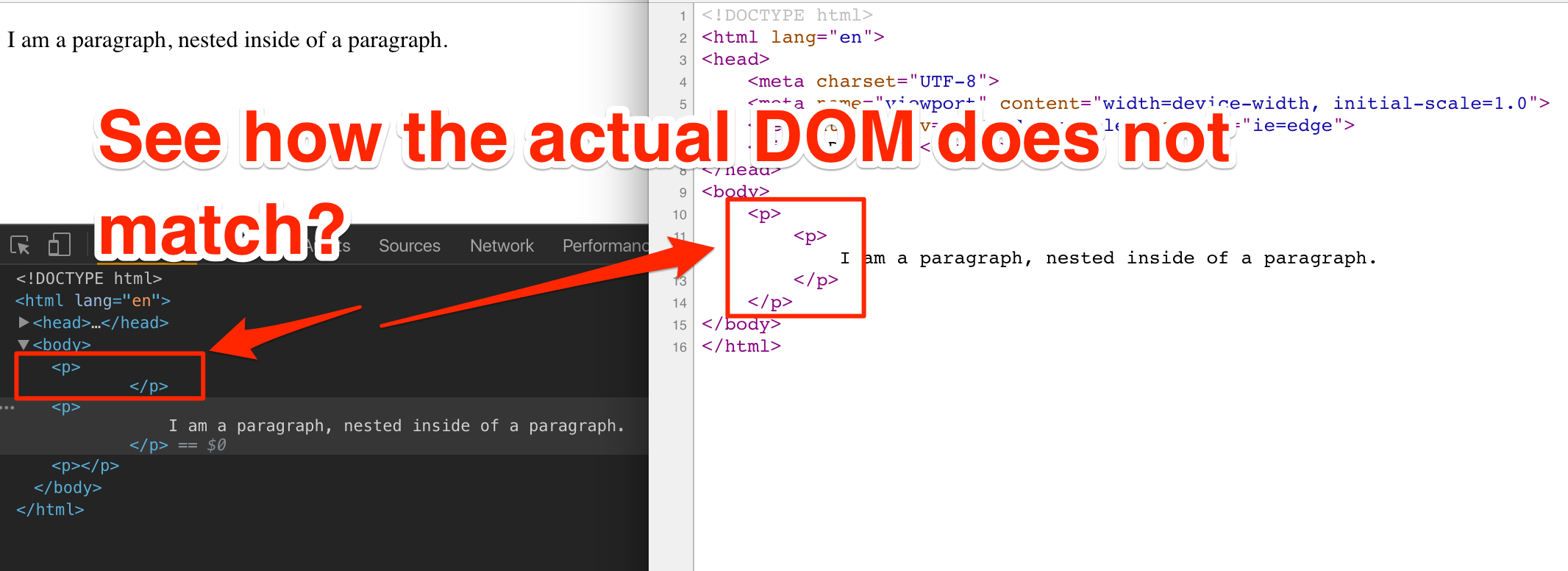 v-html directive throws error if wrapper is other than `div