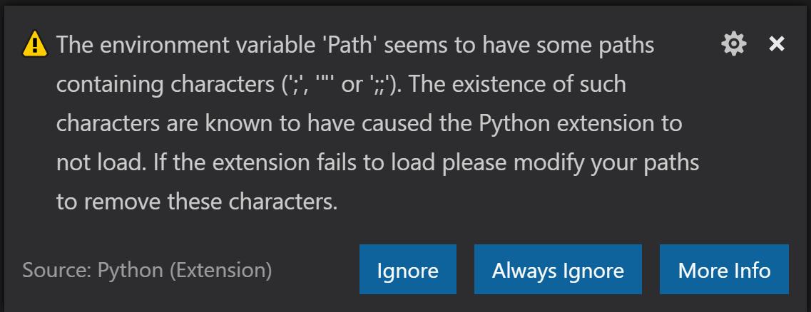 VS Code 启动时 Python 扩展提示 Path 环境变量有错误