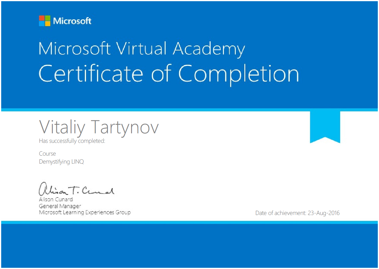 Github vitalytartynovcertificates my qualifications and demystifying linq demystifying linq 1betcityfo Gallery