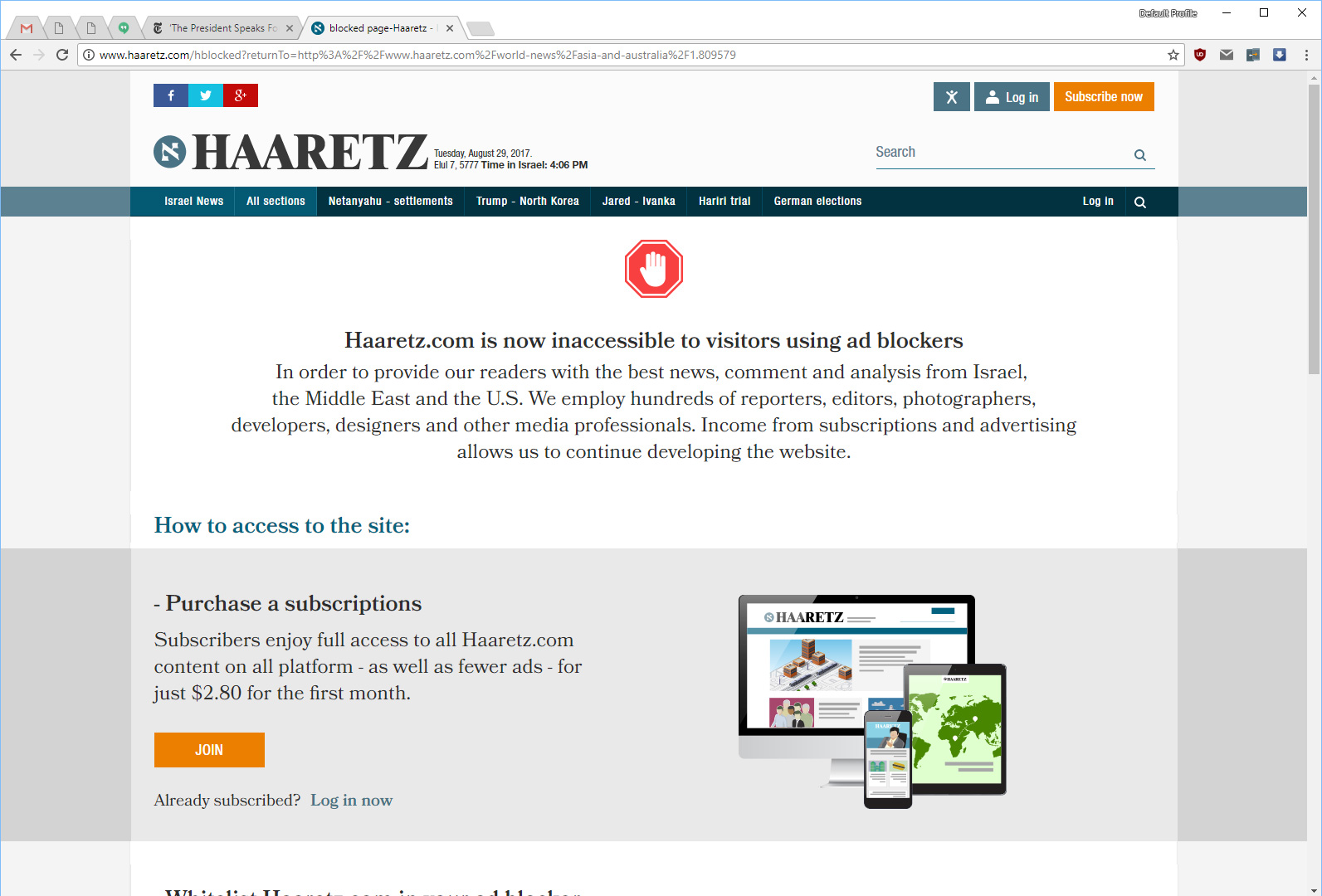Haaretz com · Issue #3539 · reek/anti-adblock-killer · GitHub
