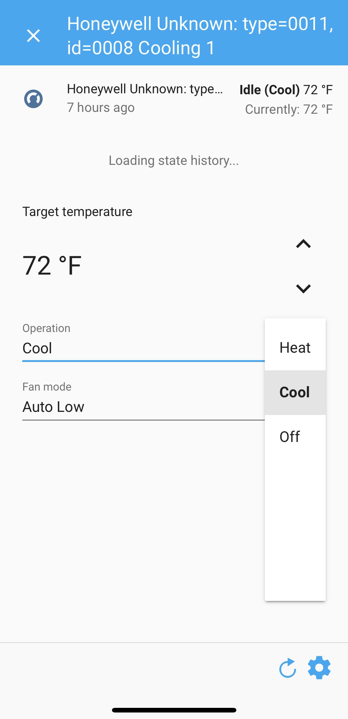 Multiple cards for a single physical device (thermostat