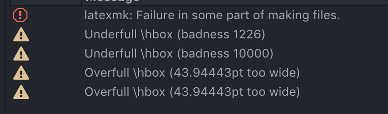 what does underfull hbox badness 10000 mean