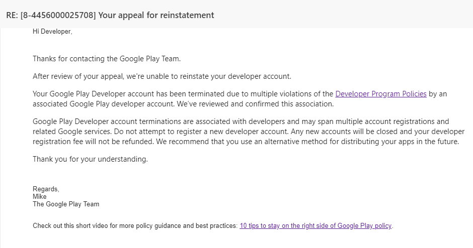 Android] App got removed, dev account closed · Issue #461