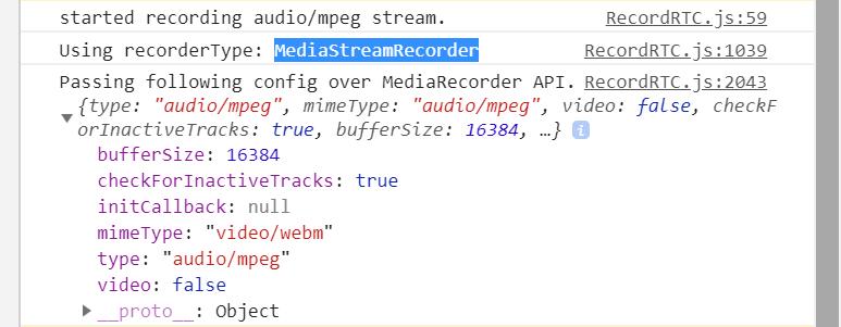 Why It always creates audio with mimetype 'video/webm