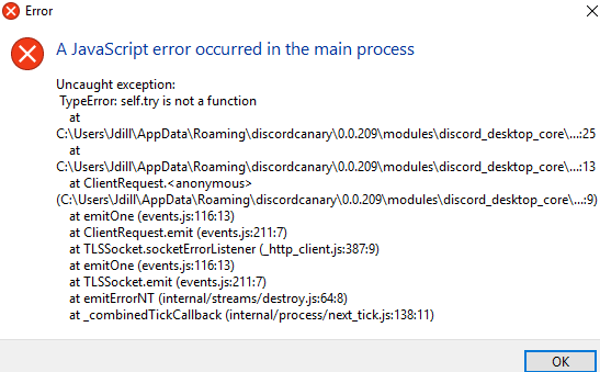 Better Discord JavaScript Error Occurred in the main process · Issue
