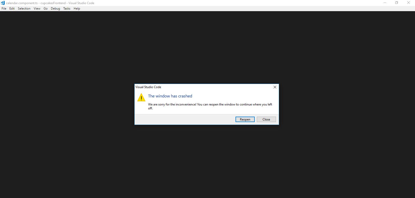The Window has Crashed · Issue #48189 · microsoft/vscode · GitHub