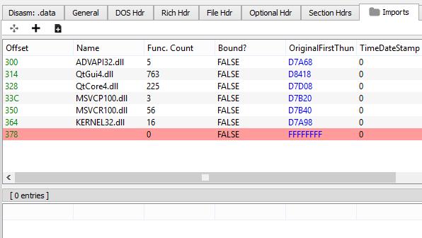 Crash on adding a new import · Issue #5 · hasherezade/pe-bear