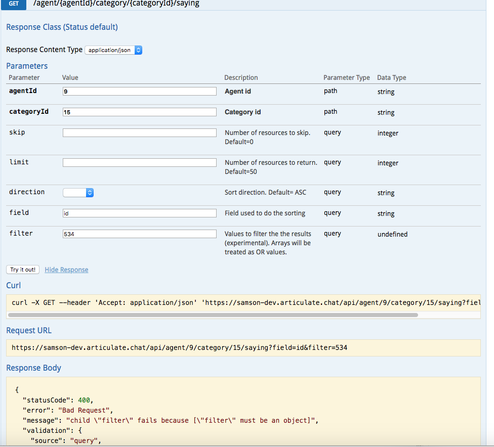 Improve filter documentation in swagger · Issue #606