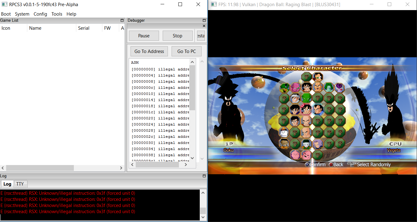 DX12/GL/Vulkan: Dragon Ball: Raging blast [BLUS30431], RSX