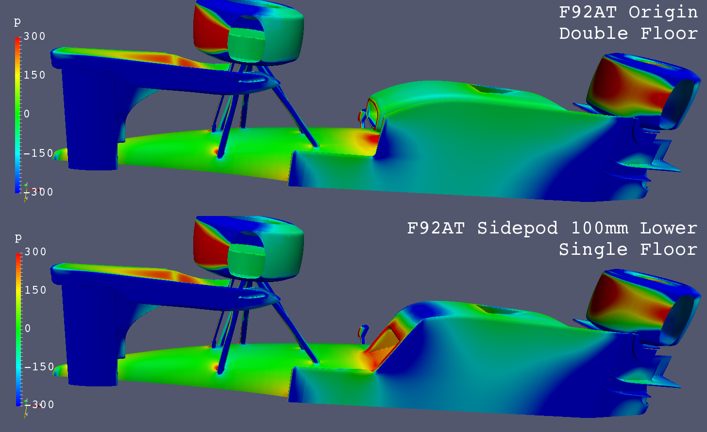 f92at_cfd_single-double-floor_pressure-comparison_bottom-view