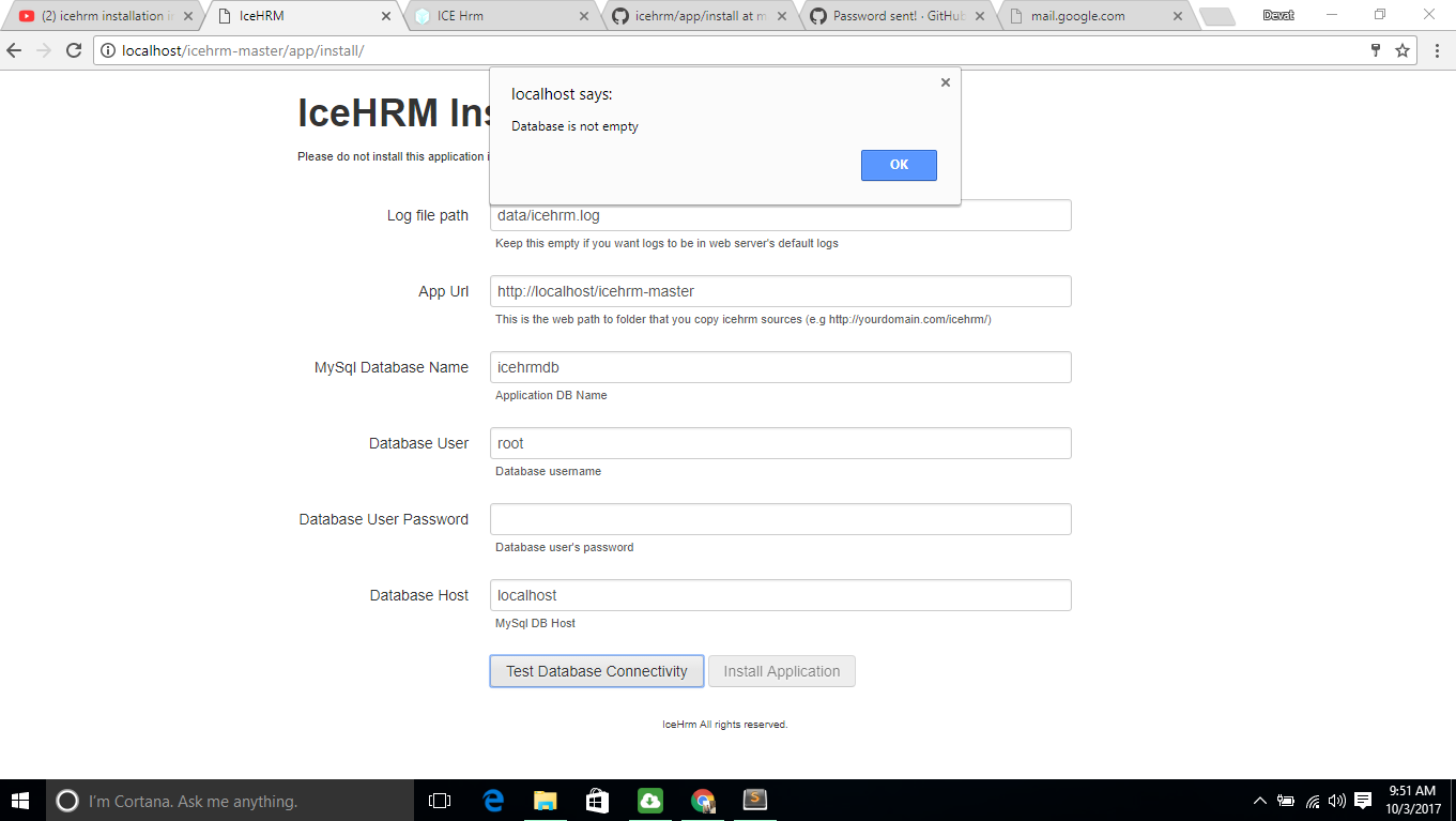 install icehrm error in Database is not empty · Issue #75