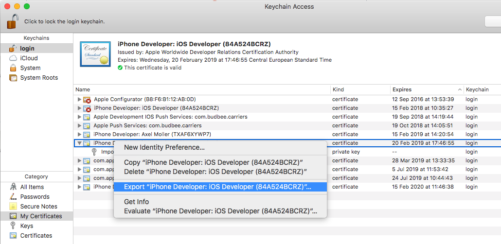 Provisioning profile doesn't include any certificate for
