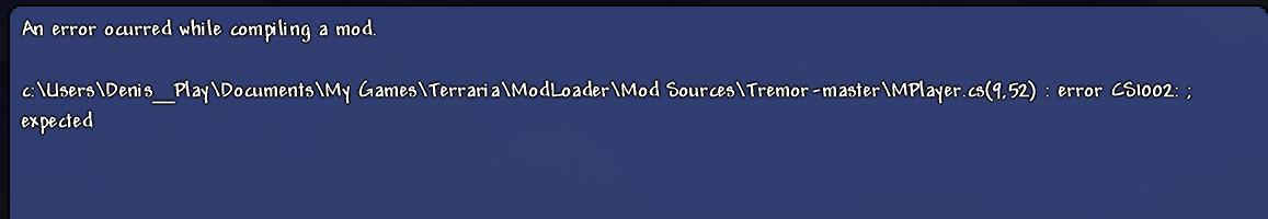 Build causes game to crash · Issue #36 · IAmBatby/Tremor
