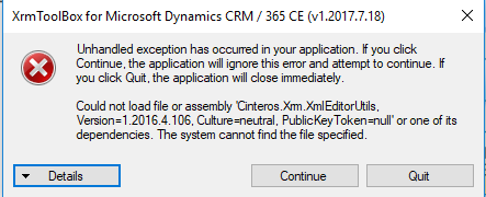 Error when running XrmToolBox: Could not load file or