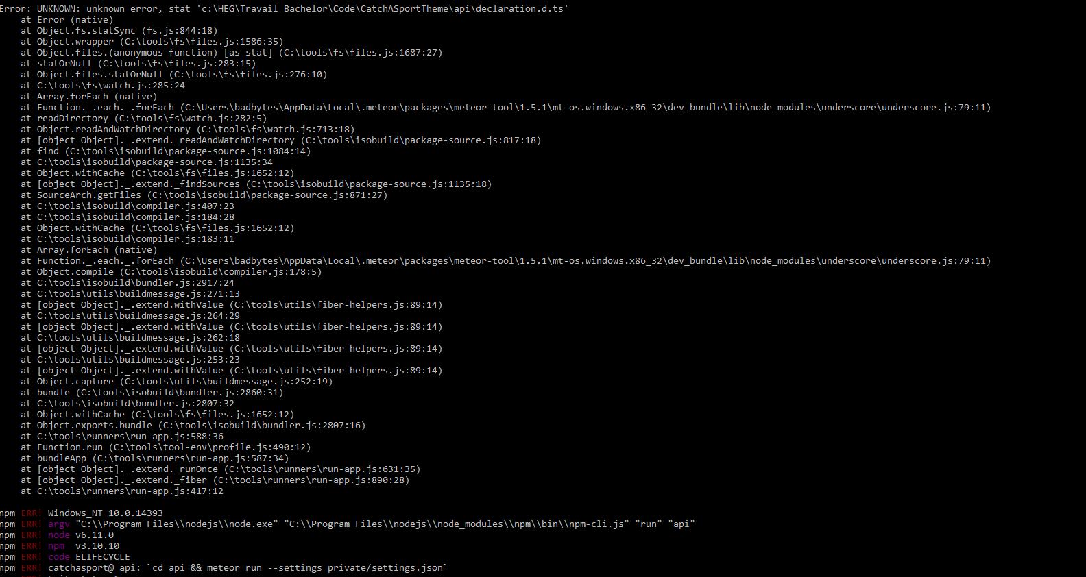 Tutorial Problem Chap 8 when npm run api · Issue #128 · Urigo