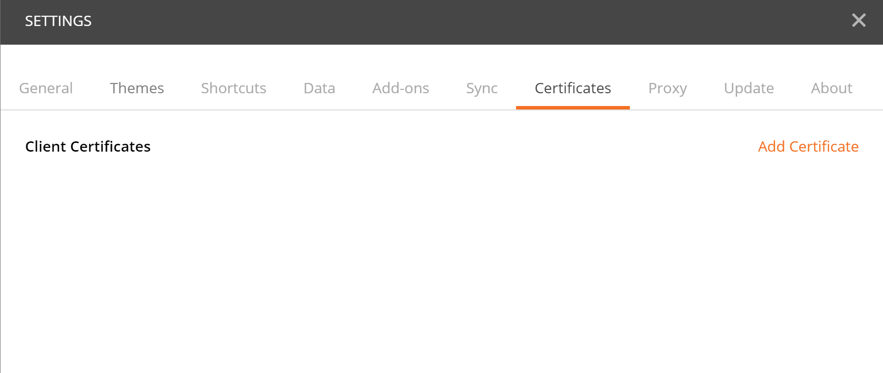 Postman error while reaching endpoints with self signed