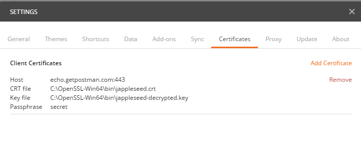 Cannot get Postman to Send Configured Client Certificate