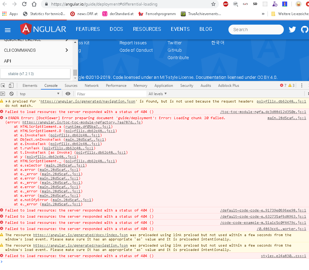 """angular io app gets stuck in """"loading document"""" state, likely due to"""
