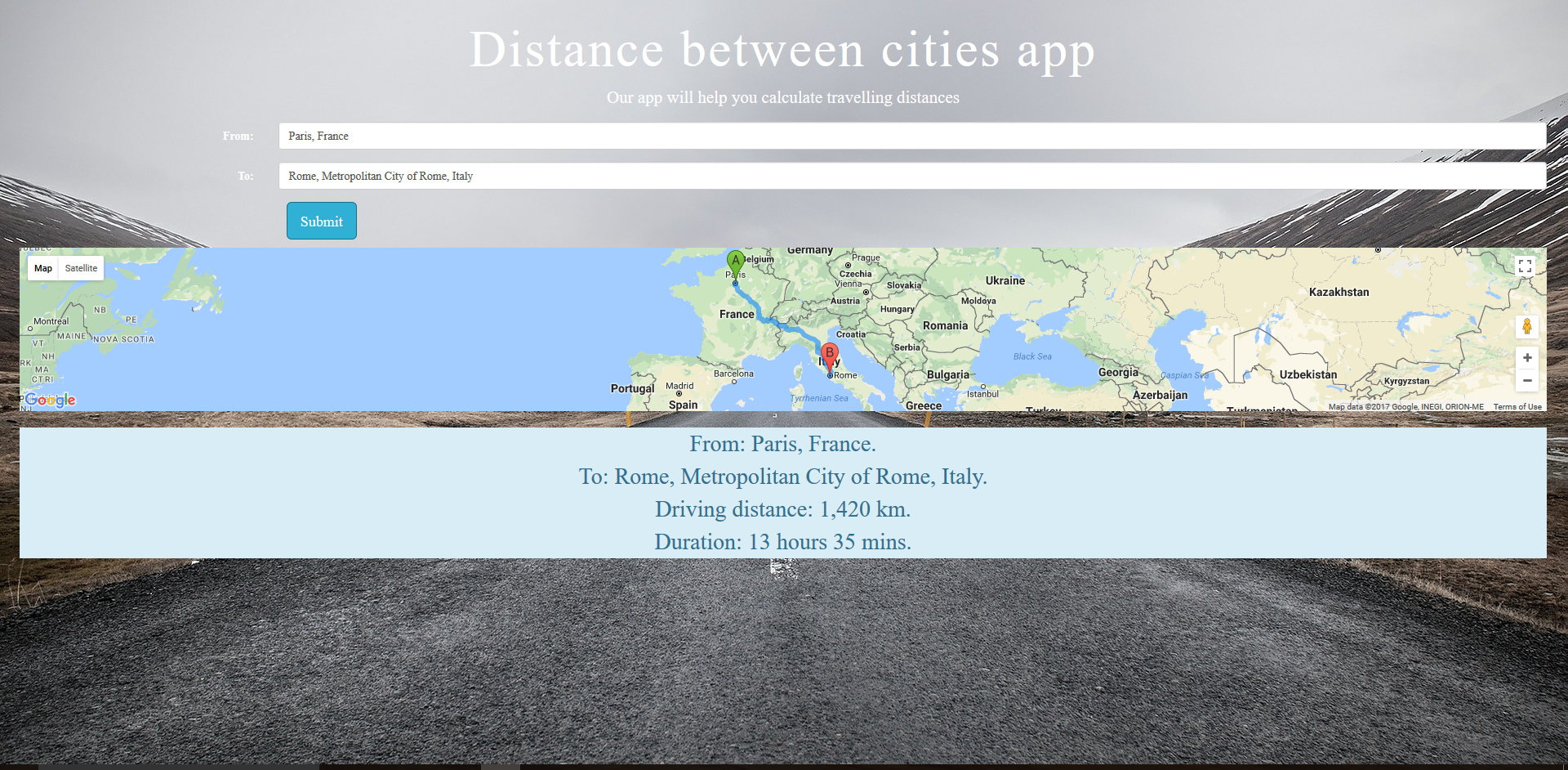 Distance calculator, india travel distances between cities calculator.