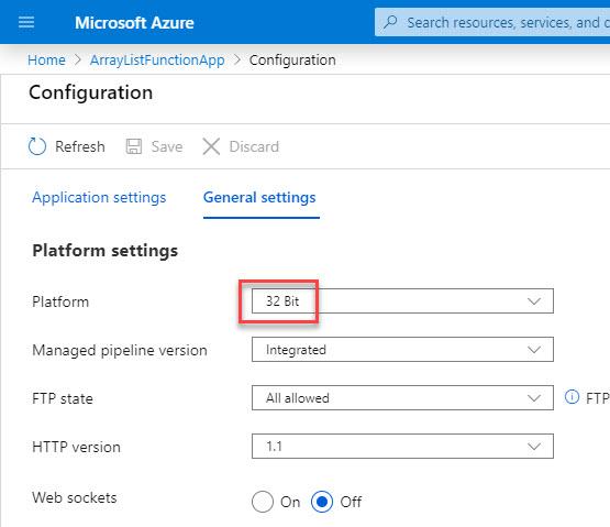 AzurePortal_ArrayListFunctionApp_PlatformBitnessSetting