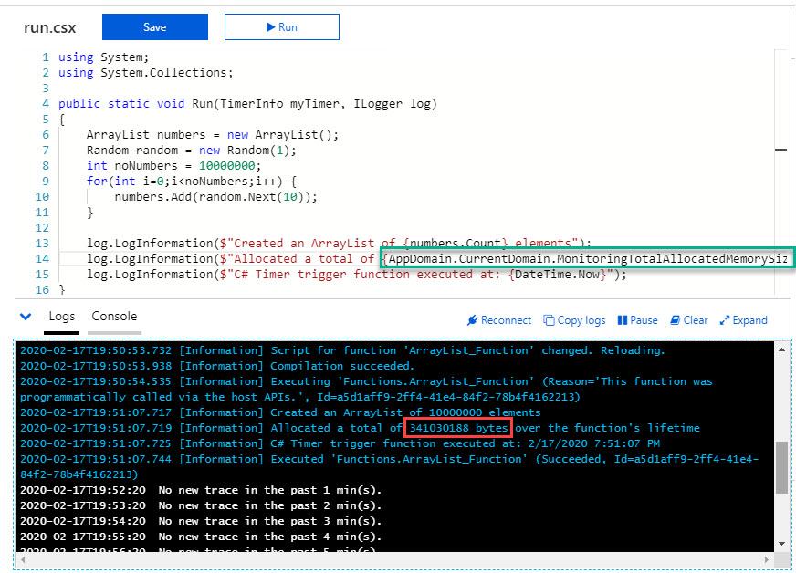 AzurePortal_ArrayList_10mil_elements_AllocatedBytesInCode