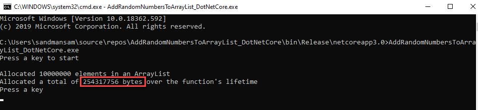 Console_ArrayList_10mil_elements_DotNetCore_AllocatedBytesInCode