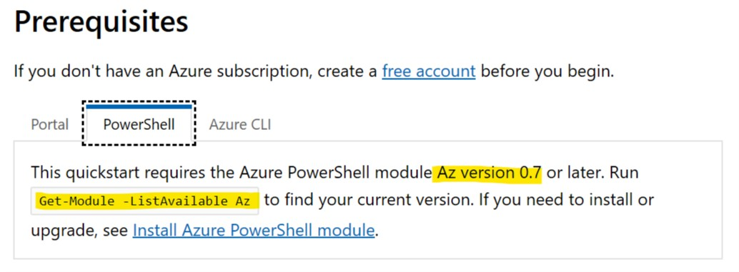 Prerequisites section is much more detailed for Azure CLI than